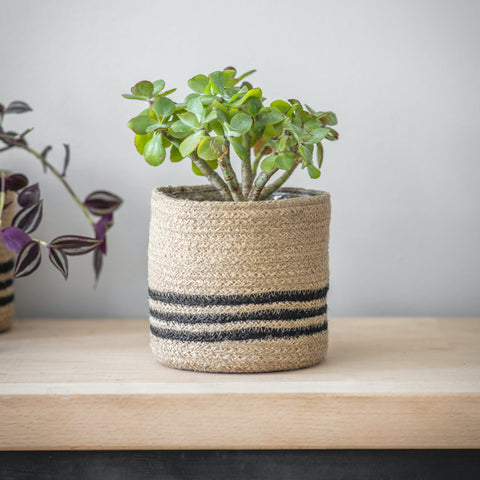 HANDMADE | STRIPED JUTE POT