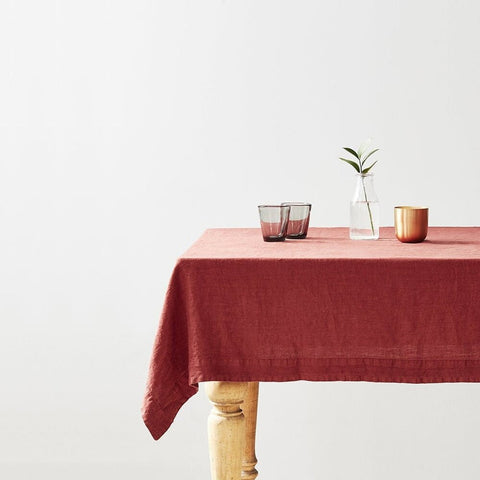 STONEWASHED LINEN TABLECLOTH | BRICK RED