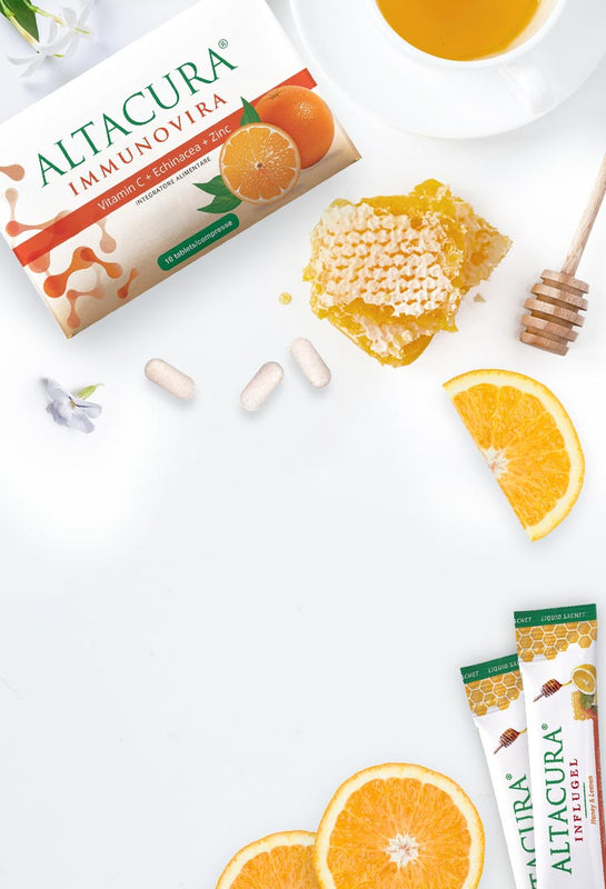 ALTA CARE Laboratoires has developed and produced Altacura line unique formulations enriched with propolis, vitamin C, lemon, zinc, honey, etc to help prevent colds and flu. Against stuffy nose, cough, feverish condition symptoms, we tend to take vitamins