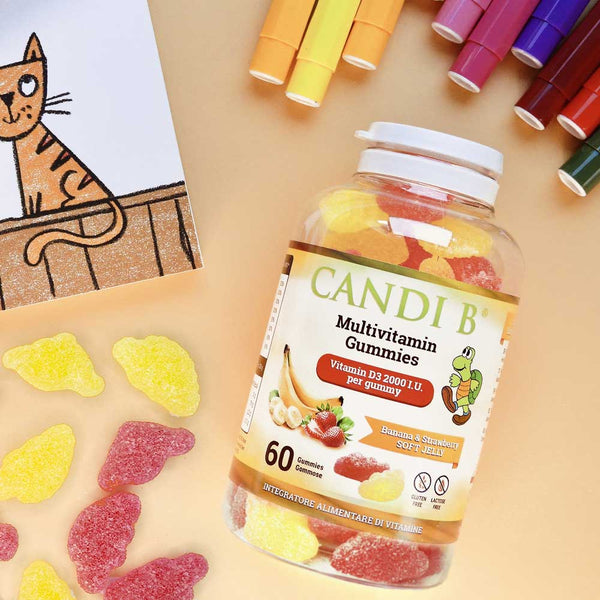 Candi B Multivitamin gummies Vitamin D3 2000 IU - 60 jelly gummies strawberry and banana flavour, strong bones and immune system