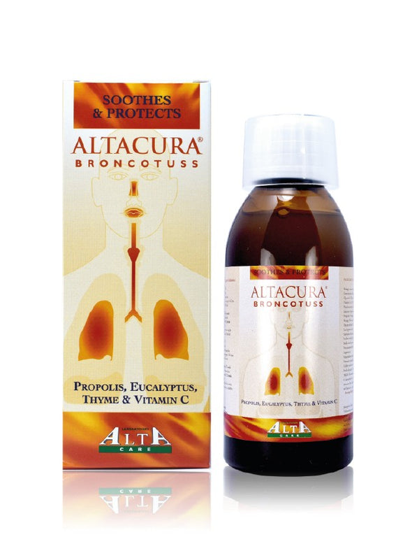 Altacura Broncotuss Syrup, with propolis and orange concentrate, has an emollient and liquefying action and contains ingredients that help to strengthen the immune system, thus alleviating both cough and cold symptoms.