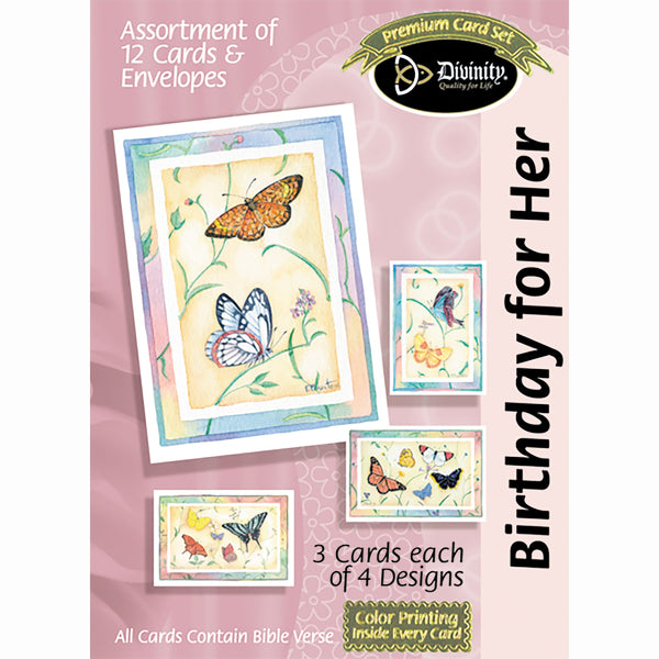 Divinity Boutique Boxed Cards: Birthday For Her, Butterflies
