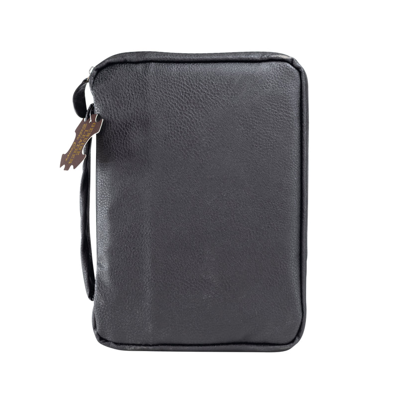 Genuine Leather Bible Cover - Black Pebble Grain