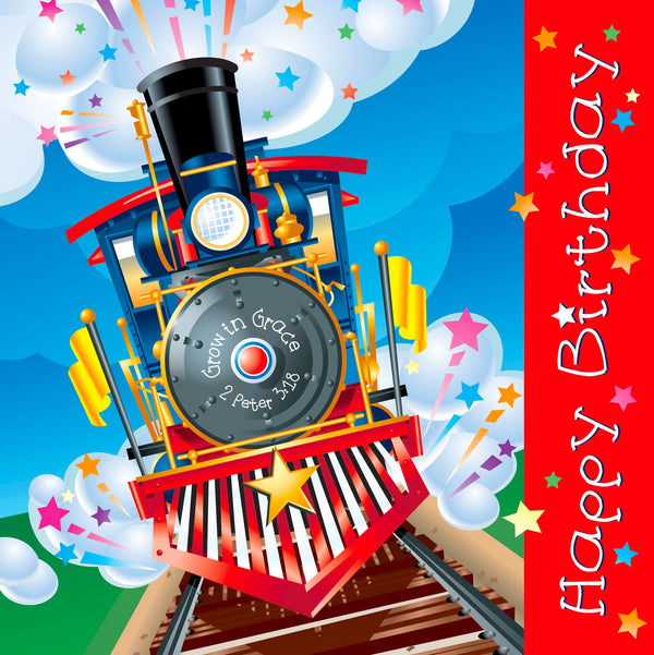 "Our fun Birthday Train inspirational luncheon napkins feature full color printing. Each napkin is printed on 3-ply paper with 20 napkins per package. Napkins measure 6.5""x6.5"" when folded and 13""x13"" unfolded. Pre-packed in quantities of 6 packs. Material: Paper."