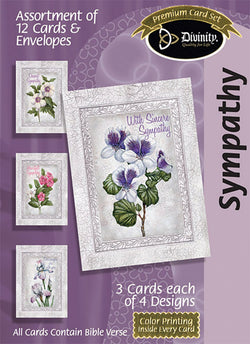 Divinity Boutique Boxed Cards: Sympathy, Flowers With Gray Border