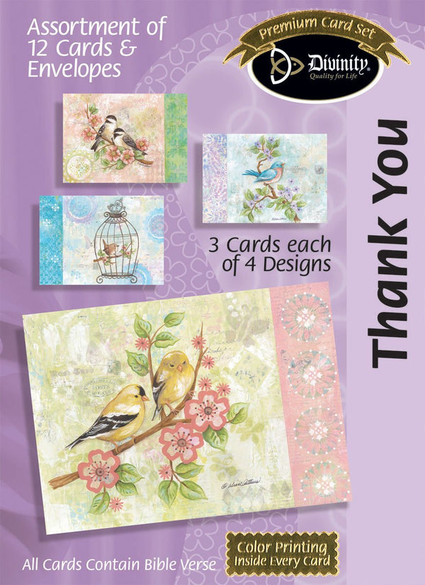 Divinity Boutique Boxed Cards: Thank You, Pretty Birds: Scripture