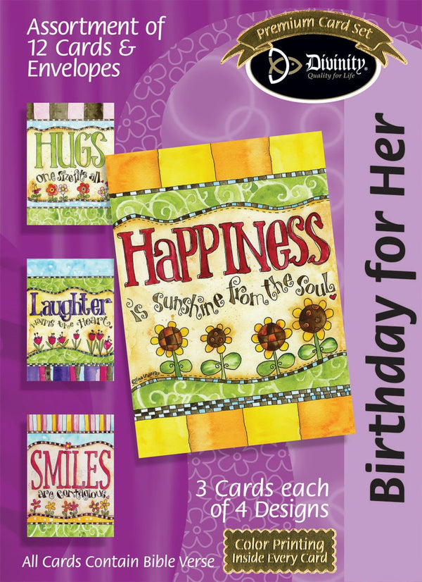 Divinity Boutique Boxed Cards: Birthday For Her, Happiness: Scripture