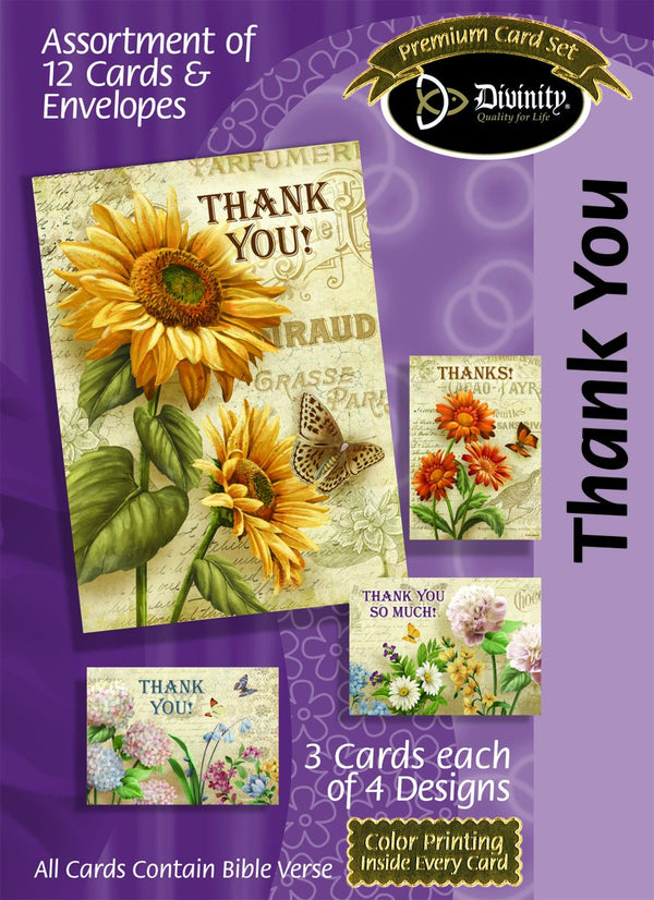 Divinity Boutique Boxed Cards: Thank You, French & Flowers Scripture