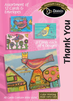 Divinity Boutique Boxed Cards: Thank You, Crowned Birds Scripture