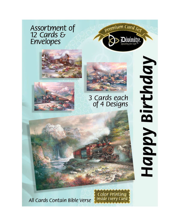Boxed Birthday Cards - Trains - Set of 12