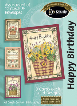 Divinity Boutique Boxed Cards: Happy Birthday, Flower Baskets