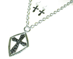Divinity Boutique Cross Filigree Necklace And Earring Set