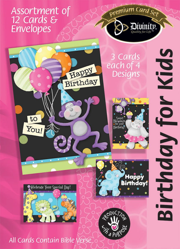 Divinity Boutique Boxed Cards: Birthday For Kids, Party Animals