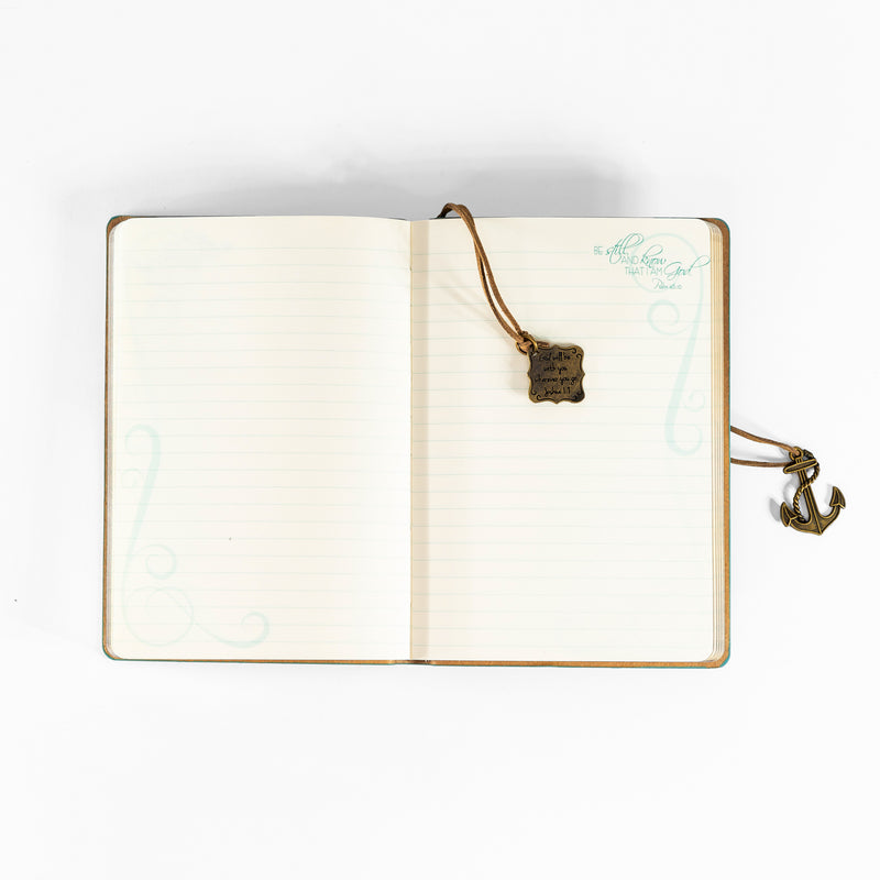Faux Leather Journal - Hope As An Anchor With Anchor Charm Aqua
