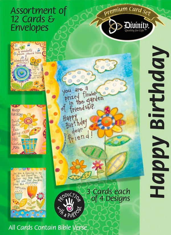 Boxed Birthday Cards - Happy Birthday Flowers - Set of 12