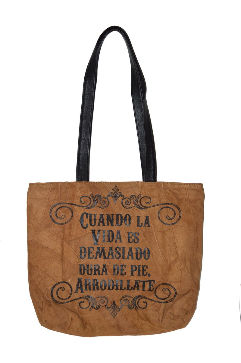 Divinity Boutique Spanish: Recycled Leather Tote - Cuando La Vida. 7-59830-23787-1