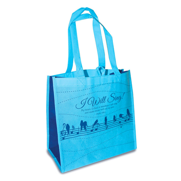 "Blue Eco Tote Bag With Music Notes- Psalm 108:1 ""I Will Sing"""