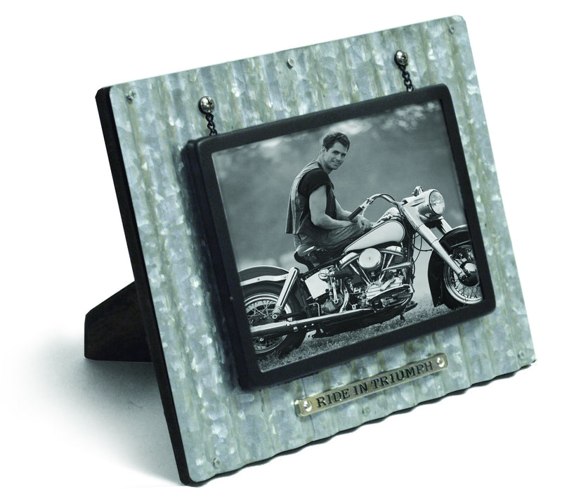 Divinity Boutique God's Garage: Ride in Triumph Corrugated Metal Photo Frame