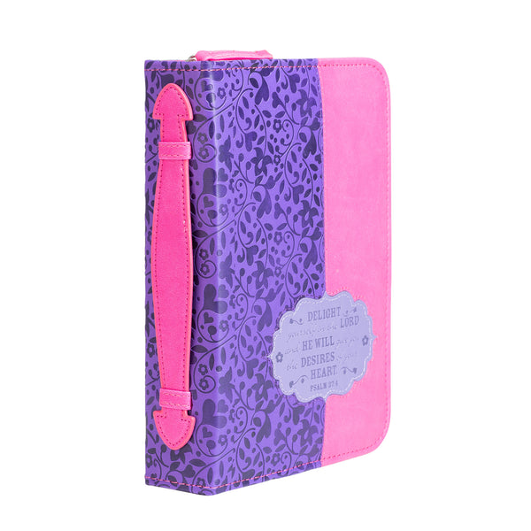 Bible Cover - Pink And Purple Floral Psalm 37:4