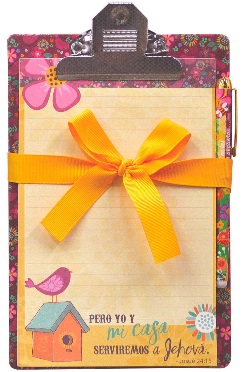 "Spanish Clipboards and Pens Dimensions: 6"" x 9"". 60 sheets per pad. Vibrantly decorated pen. It's a great gift for Student, Teacher, Children, Colleague and so on. Features Spanish Scripture. Material: Paper/Metal."