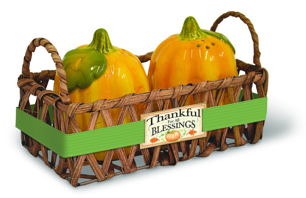 Divinity Boutique Harvest Blessings: Pumpkin Salt & Pepper Shakers
