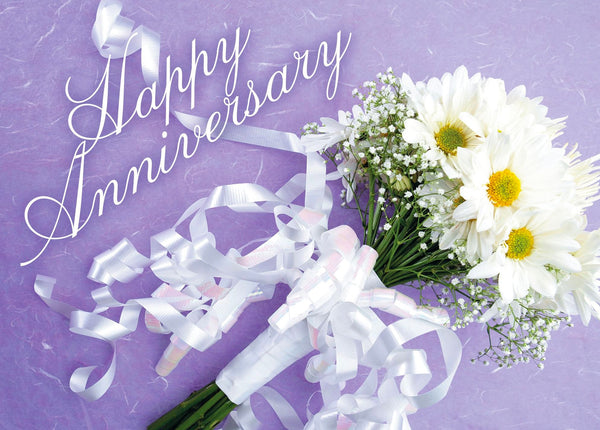 Single Cards: Happy Anniversary White Daisies (6 Pack)