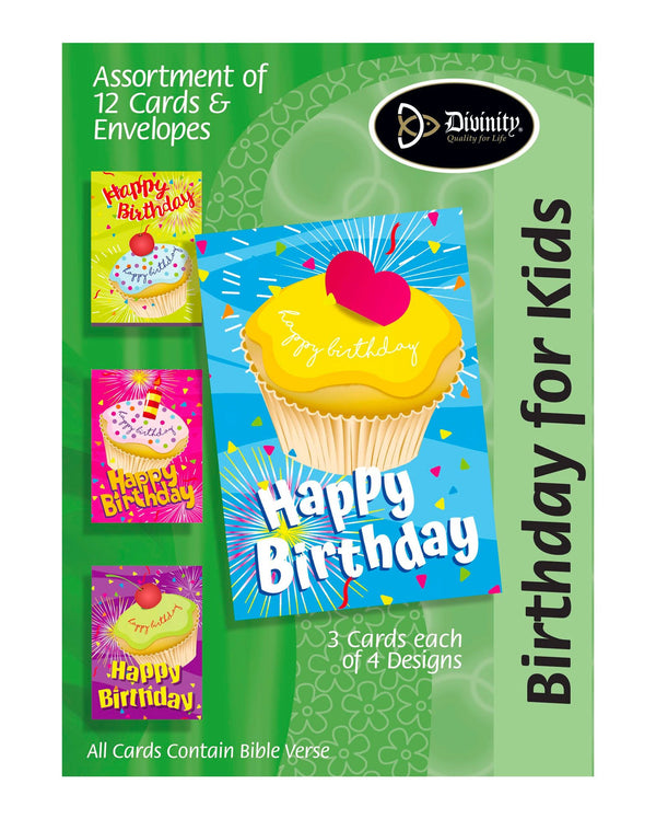 Boxed Kids' Birthday Cards - Cupcakes - Set of 12