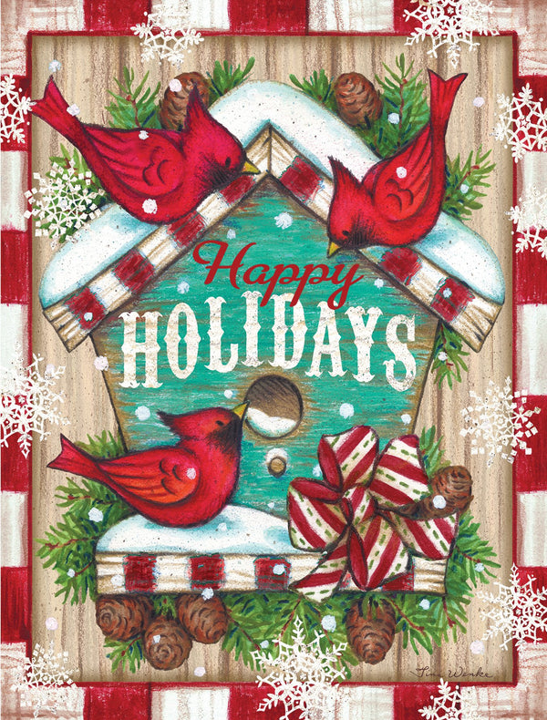 Divinity Boutique Boxed Christmas Cards: Happy Holidays Cardinals Birdhouse