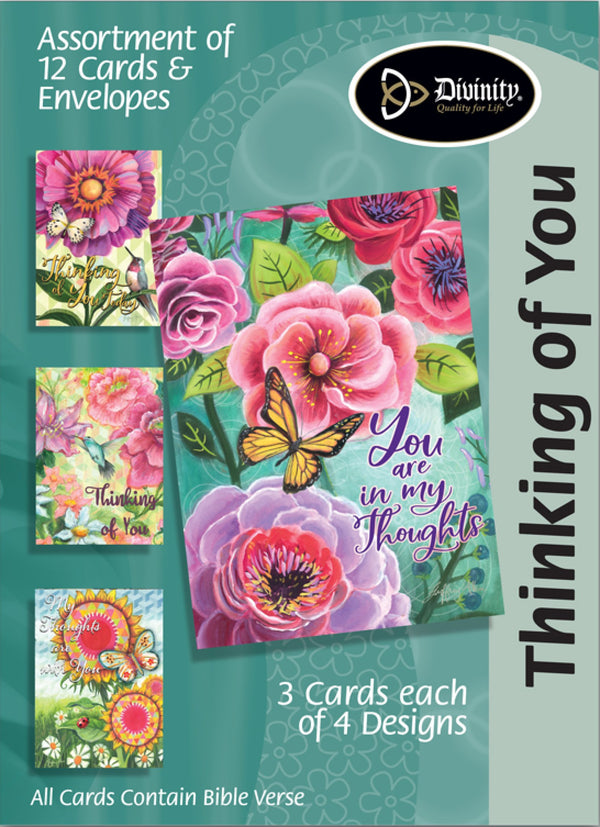 Divinity Boutique Boxed Cards: Thinking Of You-Flowers, Birds & Butterflies