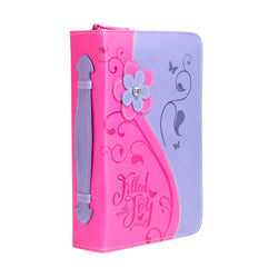 Bible Cover - Pink Daisy Filled W/Joy