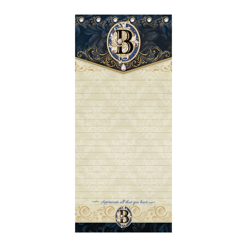 "Gold Foil & Jeweled magnetic listpad measures 4"" x .5"" x 9"" with magnet on the back & has 100 pages; sentiment: Appreciate all that you have."
