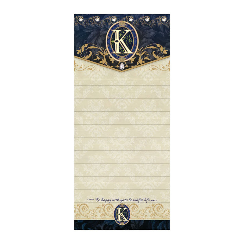 Monogram K: Jeweled Hard Top Magnetic Listpad