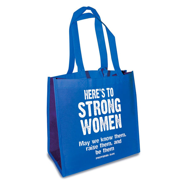 "Blue Eco Tote Bag - ""Here's to Strong Women"""