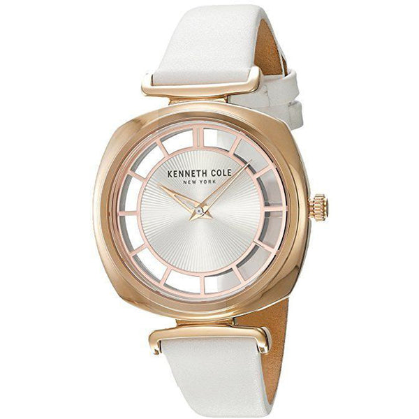 Orologio Donna Kenneth Cole New Your Bianco Acciaio Pelle Silver