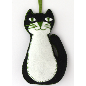 Keep Creative Hands Busy with this Cat Sewing Kit This mini cat sewing kit contains everything you'll need to make a cute cat that you can hang in a child's bedroom or use as Christmas decorations. Great for beginners and seasoned crafters. Showing finished cat on white background