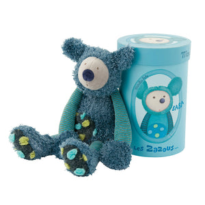 A beautiful blue Koala - a super gift for babies with style! This lovely soft cuddly, turquoise and blue Koala Bear has multi coloured tufted velour spotty tummy and feet. A gift that a child is sure to hold onto from the moment they open the beautifully illustrated gift box. An adorable soft toy suitable from birth. Showing Koala leaning up his gifts box