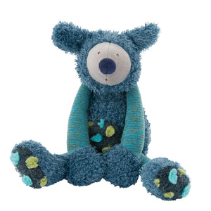 A beautiful blue Koala - a super gift for babies with style! This lovely soft cuddly, turquoise and blue Koala Bear has multi coloured tufted velour spotty tummy and feet. A gift that a child is sure to hold onto from the moment they open the beautifully illustrated gift box. An adorable soft toy suitable from birth. Front view of koala sitting