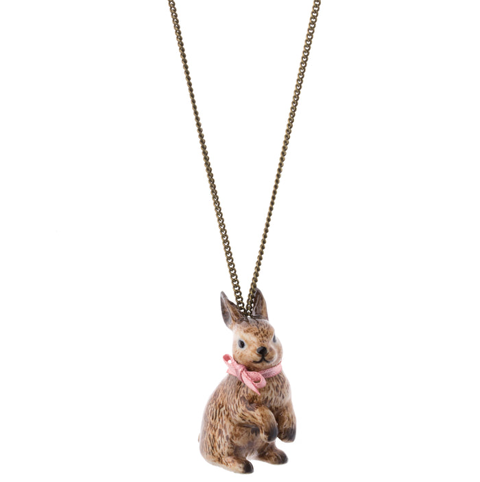 Brown Rabbit Necklace with Pink Bow - Hand Painted