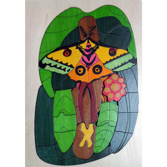 Comet Moth Mosaic Jigsaw - Wooden Puzzle -111 pieces, 4 layers