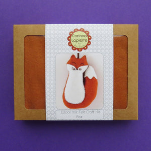 Keep Creative Hands Busy with this Fox Sewing Kit This fox sewing kit contains everything you'll need to make a friendly felt fox that you can hang in a child's bedroom or use as Christmas decorations. Great for beginners and seasoned crafters. Showing box in purple background