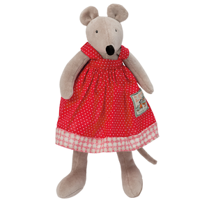 Nini Mouse - The pretty little mouse that makes a great companion. Little Nini Mouse is a cute soft plush toy. She has soft brown fur and a black nose and wears a pretty red dress with white polka dots. Showing Nini on white background