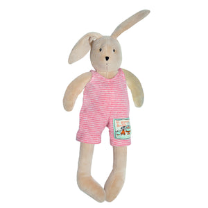 Sylvain the Rabbit is an adorable light brown plush friend. Children love toys with removable clothes and this cute little character is no exception. This little companion wears a removable white and raspberry pink striped playsuit. showing rabbit on white background