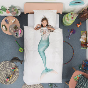 Mermaid Duvet and Pillow Set - Always be yourself, unless you can be a mermaid! This mermaid duvet is so cool! Make bedtime fun with this character soft cotton duvet and pillow set. This set features a photographic image of a beautiful shimmering aqua tail and elaborate bodice on the duvet and a shell encrusted seahorse crown on the pillow. Showing mermaid duvet in bedroom situation.