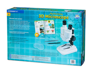 3D Microscope box - showing the back of box  - Microscoping with this high quality stereo microscope is a real eye opener! This binocular style 3D microscope from Thames and Kosmos is so easy to use for children and adults as you're not trying to cover or shut one eye to get a clear focus on what your viewing through the lens. There's an amazing micro world to explore. Included in the package is 2 x 5mm lens and 2 x 10mm lens.
