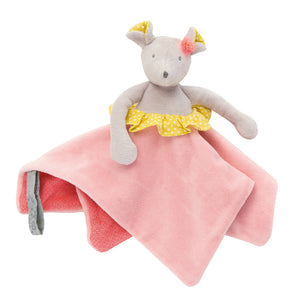 Mouse Baby Comforter - Cute gift for new born babies. This beautifully designed cream/light brown mouse baby comforter is embellished with a white spotty yellow frill at her waist which matches her ears.
