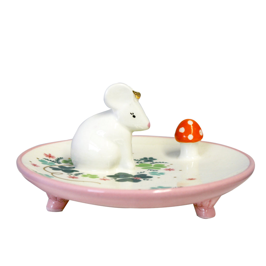 Mouse Trinket Dish with Gift Box by House of Disaster - side view.Mouse Trinket Dish - A great gift for keeping bobbles tidy. This beautiful round mouse trinket dish is an ideal accessory for your child's dressing table or bedside cabinet. The dish is porcelain and has a little cute mouse wearing a shiny gold coronet sitting in the middle of the dish.
