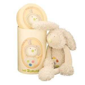 A Wonderful Gift - Rabbit Soft Toy! This lovely cuddly cream rabbit soft toy has a tufted velour spotty tummy and feet. A gift that a child is sure to hold onto from the moment they open the beautifully illustrated gift box. Showing rabbit sitting beside gift box