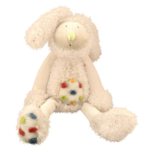 A Wonderful Gift - Rabbit Soft Toy! This lovely cuddly cream rabbit soft toy has a tufted velour spotty tummy and feet. A gift that a child is sure to hold onto from the moment they open the beautifully illustrated gift box. showing rabbit sitting on white background