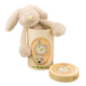 A Wonderful Gift - Rabbit Soft Toy! This lovely cuddly cream rabbit soft toy has a tufted velour spotty tummy and feet. A gift that a child is sure to hold onto from the moment they open the beautifully illustrated gift box. Showing rabbit peeping out of box