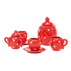 Red ceramic children's tea set by Moulin Roty - a red and white spotty miniature tea set for children